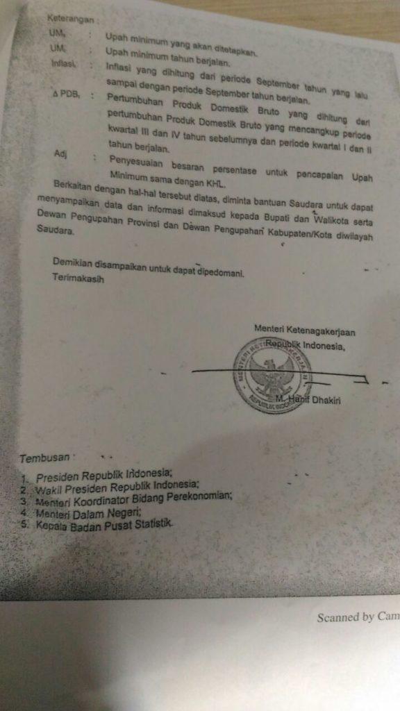 Surat Menaker soal UMP 2018 Foto: Dok. Kementerian Ketenagakerjaan
