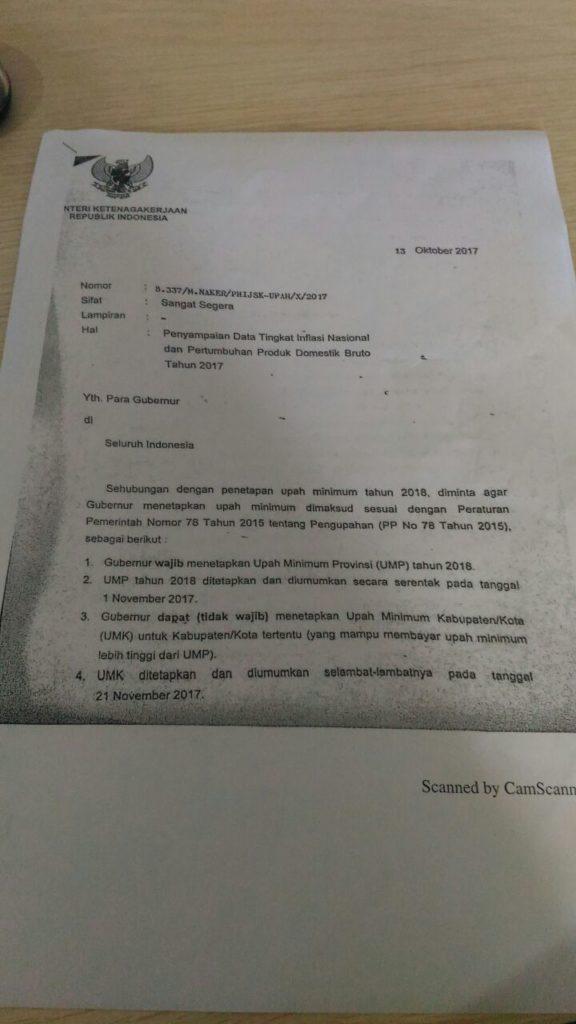 Surat Kemenaker tentang UMP 2018