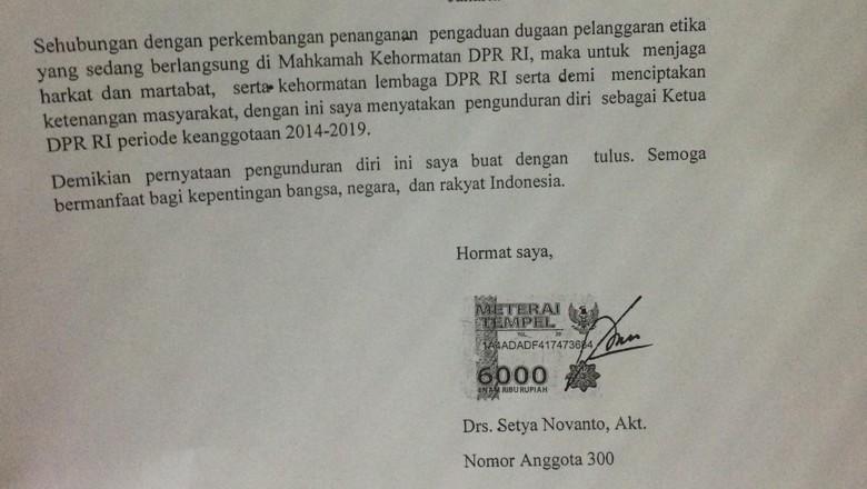 Isi Lengkap Surat Pengunduran Diri Setya Novanto sebagai Ketua DPR-RI