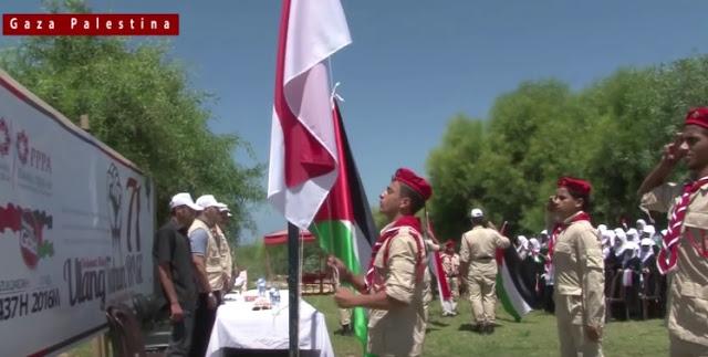 Rakyat Palestina Kibarkan Merah Putih Diiringi Lagu Indonesia Raya