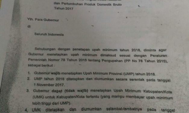 Ini Surat Menaker Soal UMP 2018 8,71 Persen
