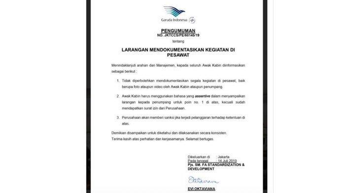 Garuda Indonesia Keluarkan Larangan Ambil Gambar dan Video di Pesawat